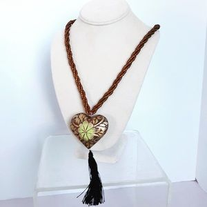 Mexican Handmade Wooden Heart Necklace Handpainted